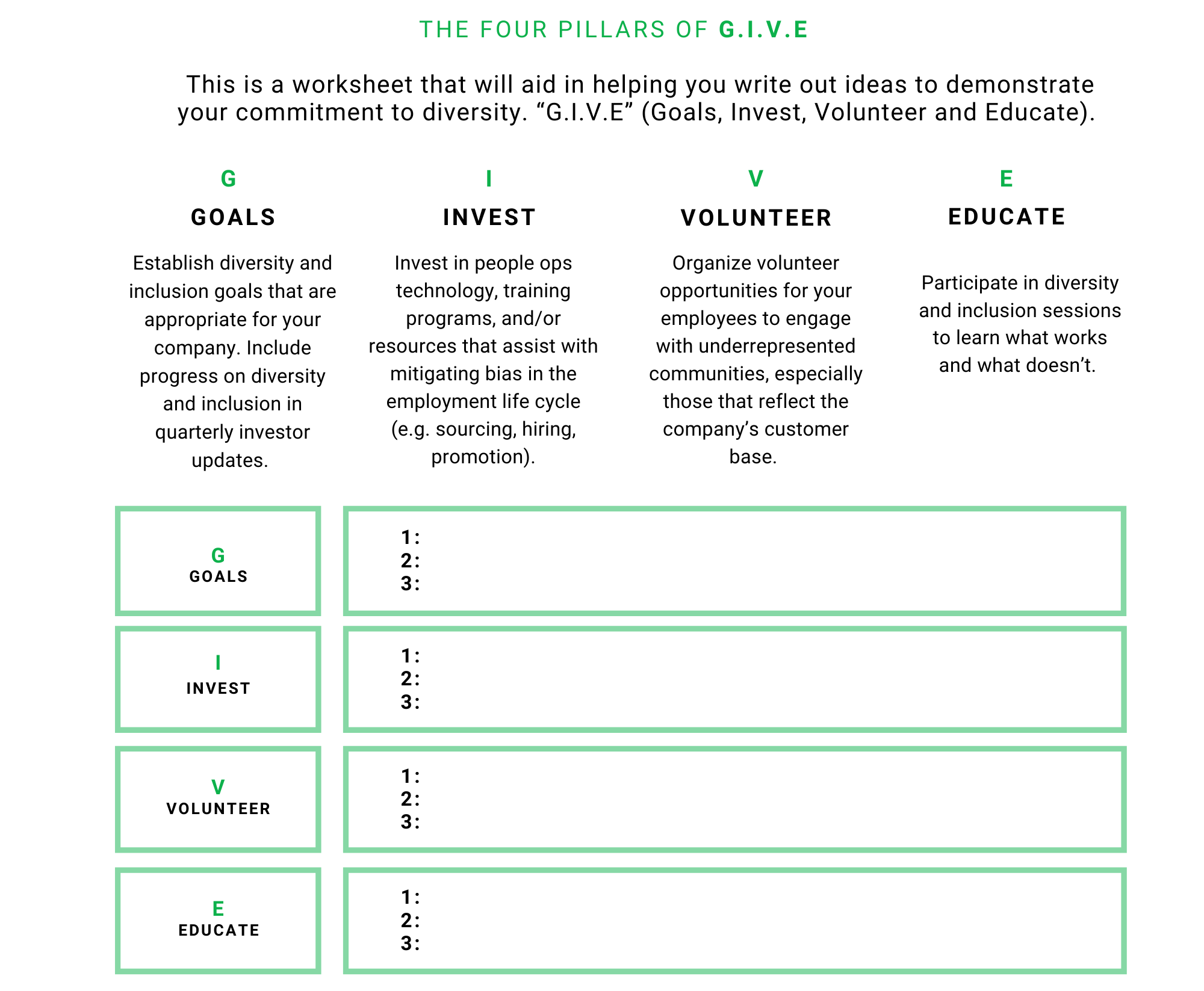 FOUR PILLARS OF GIVE - WORKSHEET